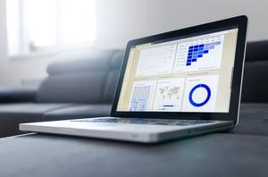 Laptop with data statistics