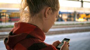 Girl looking at her phone.